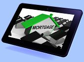 Mortgage House Tablet Means Debt And Repayments On Property