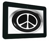 Peace Sign Tablet Shows Love Not War
