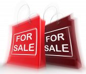 For Sale Shopping Bags Represent Retail Selling And Offers