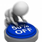 Fifty Percent Off Pressed Means Half-price Product Or Service