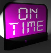 On Time Digital Clock Means Punctual And Not Late