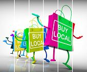 stock photo of local shop  - Buy Local Shopping Bags Representing Neighborhood Business and Market - JPG