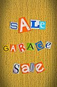 announcement of a garage sale