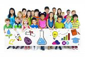stock photo of pre-adolescent girl  - Group of Children Holding Education Concept Billboard - JPG