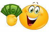 Happy yellow ball holding dollar bills