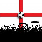 Silhouette of football / soccer supporters on England flag