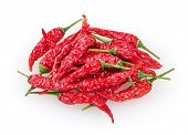 Dry Red Cayenne Peppers Isolated On White Background With Clipping Path