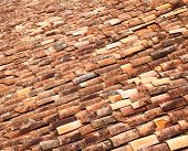 Aged ceramic tale roof in Turkey