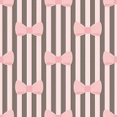 Tile vector pattern with pastel pink bows on a chocolate brown stripes background