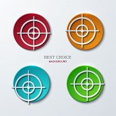 Vector aim icons set on sample background