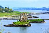 Scottish landscape with castle