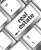 Real Estate Concept. Hot Key On Computer Keyboard With Real Estate Words