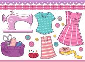 Illustration Featuring Different Sewing Materials for Scrapbooking