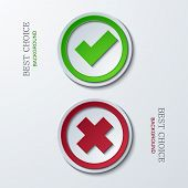 vector yes or no circle icons.