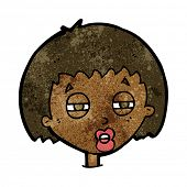 cartoon woman narrowing eyes