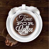 Poster cup kofem alarm clock in dark wood