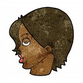 image of raised-eyebrow  - cartoon woman raising eyebrow - JPG