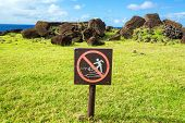 Do Not Climb On Moai Sign