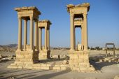 Roman ruin in the oasis of Palmyra, Syria