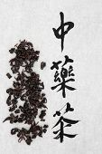 Oolong herb with chinese calligraphy script over rice paper background. Translation reads as chinese