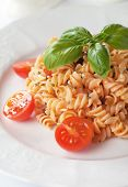 Fusilli pasta with basil and cherry tomato