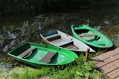 Boats on moorage at summer time