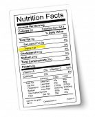 Nutrition facts label. Fat highlighted.