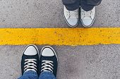 picture of legs apart  - Sneakers from above - JPG