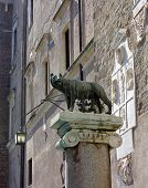 Statue She-wolf With Romulus And Remus On Place Of Foundation Of Rome, Italy.