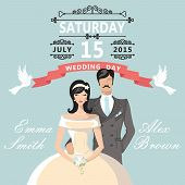 Cute Cartoon Bride Groom.wedding Invitation