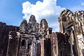Siem Reap, Cambodia - May 3, 2014: Tourist travel Bayon temple in Angkor Thom