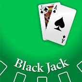 Black Jack and Ace of Spades playing cards on Blackjack game table copy-space