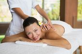 Brunette enjoying a peaceful massage smiling at camera at the health spa