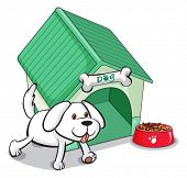 Illustration of a cute pet outside the pethouse on a white background