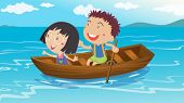 Illustration of a boy and a girl boating