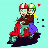 pic of vespa  - The Lovely couple riding a red scooter vector illustration - JPG