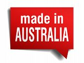 Made In Australia Red 3D Realistic Speech Bubble Isolated On White Background