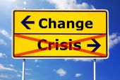 image of road sign  - financial crisis and change concept with road sign - JPG