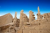 stock photo of hieroglyphic symbol  - Ancient ruins of Karnak temple in Egypt - JPG