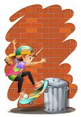 Illustration of a girl skateboarding near the trashcan on a white background