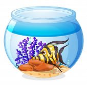 Illustration of a fish inside the jar on a white background