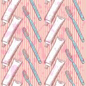 Sketch Tooth Brush And Paste, Vector  Seamless Pattern