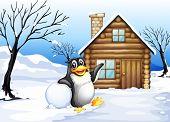 Illustration of a penguin outside the house
