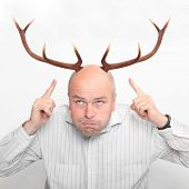 Funny picture of an manager (husband) with great antlers.