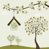 Cute Birds With Birdhouse And Roses Tree