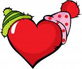 Funny Heart With Two Cap - Vector Illustration