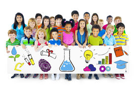 stock photo of pre-adolescents  - Group of Children Holding Education Concept Billboard - JPG