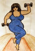 image of fat woman  - Watercolor illustration of a plus size woman lifting weights - JPG