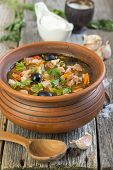 Traditional Russian Soup Made From Several Types Of Meat. Solyanka.