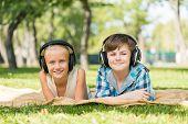 Kids wearing headphones